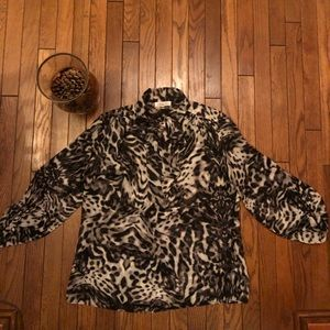 JLo Gray leopard print blouse